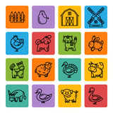 Farm animals black icon set. On a color square.Simple black line icon,sign,symbol set Royalty Free Stock Images