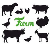Farm animals black icons Royalty Free Stock Photography