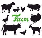 Farm animals black icons. Farm animals. set of black icons on a white background Royalty Free Stock Photography