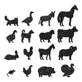 Farm animals black silhouettes