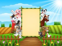 Farm animals with a blank sign bamboo. Illustration of Farm animals with a blank sign bamboo Stock Photo