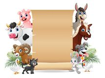 Farm animals with a blank sign paper roll. Illustration of Farm animals with a blank sign paper roll stock illustration