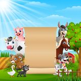 Farm animals with a blank sign paper roll up. Illustration of Farm animals with a blank sign paper roll up Stock Photos
