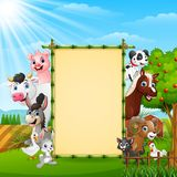 Farm animals with a blank sign tied bamboo. Illustration of Farm animals with a blank sign tied bamboo Stock Photos