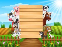 Farm animals with a blank sign wood. Illustration of Farm animals with a blank sign wood Stock Image