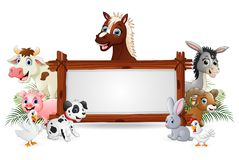 Farm animals with a blank sign wood tied. Illustration of Farm animals with a blank sign wood tied vector illustration