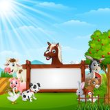 Farm animals with a blank sign wood tied. Illustration of Farm animals with a blank sign wood tied Royalty Free Stock Photos
