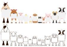Farm animals with board border set.  royalty free illustration
