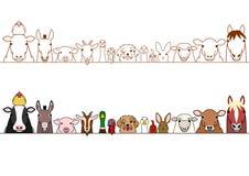 Farm animals border set. Cute farm animals border set stock illustration