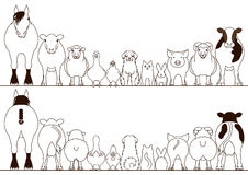Farm animals border set, front view and rear view Royalty Free Stock Photos