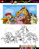 Farm animals cartoon for coloring book. Coloring Book or Page Cartoon Illustration Set of Black and White Farm Animals Characters for Children Stock Photo