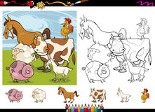 Farm animals cartoon coloring page set. Cartoon Illustrations of Funny Farm Animals Characters Group for Coloring Book with Elements Set Stock Photo