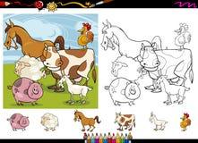 Farm animals cartoon coloring page set Stock Photo