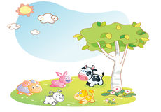 Farm animals cartoon with garden background Royalty Free Stock Photo