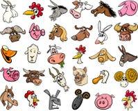 Farm animals cartoon heads big set stock illustration