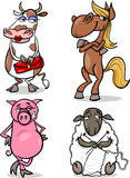 Farm animals cartoon humor set Stock Images