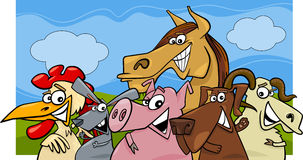 Farm animals cartoon illustration Stock Image