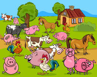 Farm animals cartoon illustration Royalty Free Stock Photo