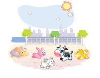 Farm animals cartoon at the park Stock Photos
