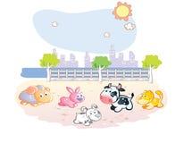 Farm animals cartoon at the park Stock Photos