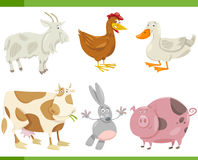 Farm animals cartoon set illustration. Cartoon Illustration of Funny Farm Animals Set Royalty Free Stock Images