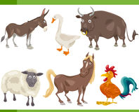 Farm animals cartoon set illustration Royalty Free Stock Image