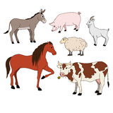 Farm animals cartoon set vector with domestic livestock, pet isolated on white Royalty Free Stock Photo