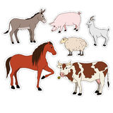 Farm animals cartoon set vector stickers with domestic livestock, pet Royalty Free Stock Photos