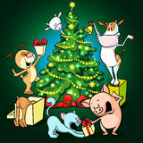 Farm animals celebrate Christmas under the tree - vector Royalty Free Stock Photos