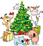 Farm animals celebrate Christmas under the tree - vector illustration isolated Royalty Free Stock Photos