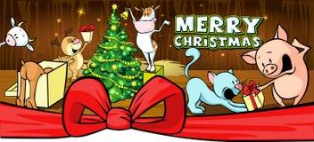 Farm animals celebrate Christmas - vector banner Stock Photo