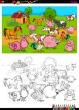 Farm animals characters group coloring book. Cartoon Illustration of Farm Animal Characters Group Coloring Book Activity Stock Images
