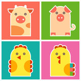Farm animals -  chicken, cock, pig and cow Royalty Free Stock Images