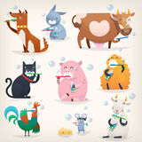 Farm animals clean teeth. Set of popular colorful vector farm animals and birds cleaning teeth with tooth brush and paste Stock Photos