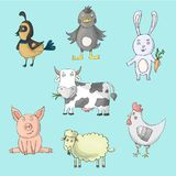 Farm animals collection with cow, hen, pig, sheep, ducks, rabbit, quail. Cartoon vector isolated characters royalty free illustration
