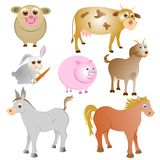 Farm animals collection Stock Photos