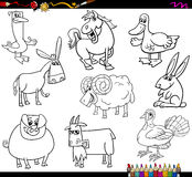 Farm animals coloring book. Coloring Book Cartoon Illustration Collection of Farm Animals Characters vector illustration