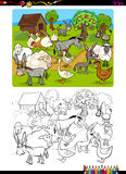 Farm animals coloring book. Cartoon Illustration of Funny Farm Animal Characters Coloring Book vector illustration