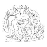 Farm animals coloring book for children vector. Illustration Stock Images