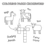 Farm Animals Coloring Book Crossword. Farm animals crossword. Vector coloring book pages for children education Royalty Free Stock Images