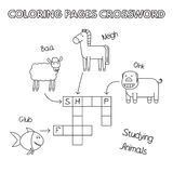 Farm Animals Coloring Book Crossword Stock Photography