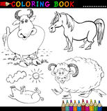 Farm Animals for Coloring Book or Page. Coloring Book or Page Cartoon Illustration of Funny Farm and Livestock Animals for Children Stock Photo