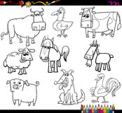 Farm animals coloring book set Royalty Free Stock Image