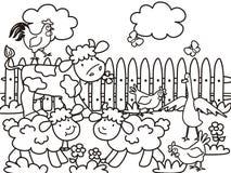 Farm Animals Coloring Book, Vector Illustration Stock Image