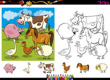 Farm animals coloring page set. Cartoon Illustrations of Cute Farm Animals Characters Group for Coloring Book with Elements Set Royalty Free Stock Photography