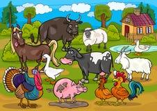 Farm animals country scene cartoon illustration Royalty Free Stock Image