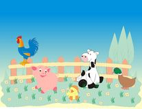 Farm animals on countryside. Behind the fence vector illustration