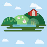 Farm animals Countryside View illustration Stock Photography