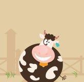 Farm animals: Cow. Farm scene with cow. Vector cartoon Illustration Royalty Free Stock Photos