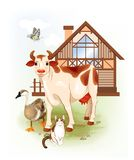 Farm animals. Cow, cat and goose. Stock Photos